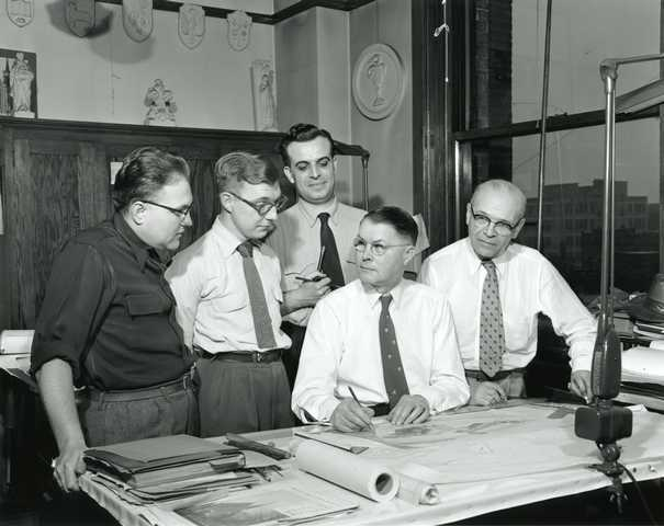 Architect Frank A. Abrahamson and his staff
