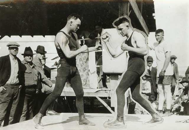 Thomas Gibbons in boxing ring with Delaney