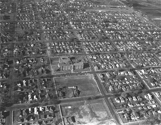 Aerial view of Rice Street area