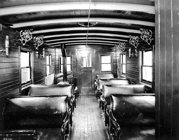 Saint Paul Pacific Railroad passenger coach, interior