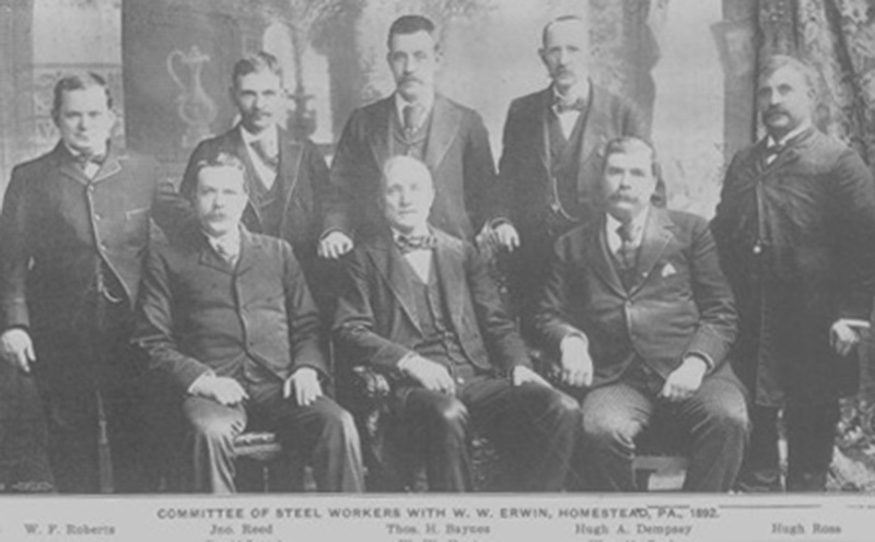 Erwin with committee of steel workers